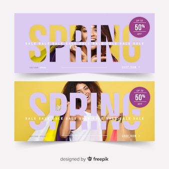 Banners de rebajas de primavera con fotografía