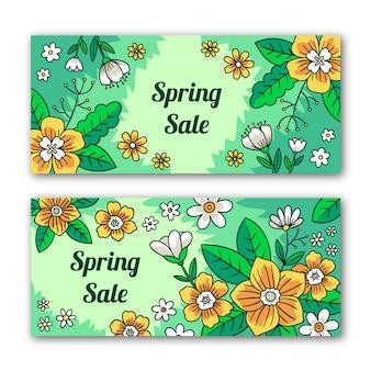 Banners de rebajas de primavera con muchas flores