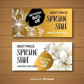 Banners de rebajas de primavera negro y dorado