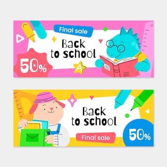 Banners de rebajas de regreso a la escuela con foto.
