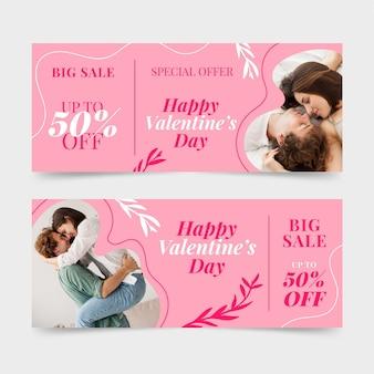 Banners de rebajas de san valentín con foto de pareja
