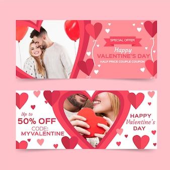 Banners de rebajas de san valentín con foto. vector gratuito