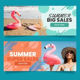 Banners de rebajas de verano degradados con foto