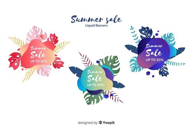 Banners de rebajas de verano efecto líquido