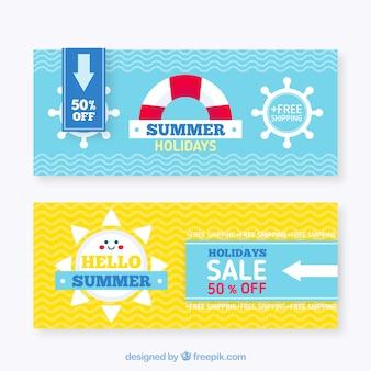 Banners de rebajas de verano con líneas onduladas y elementos planos