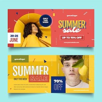 Banners de rebajas de verano planas con foto