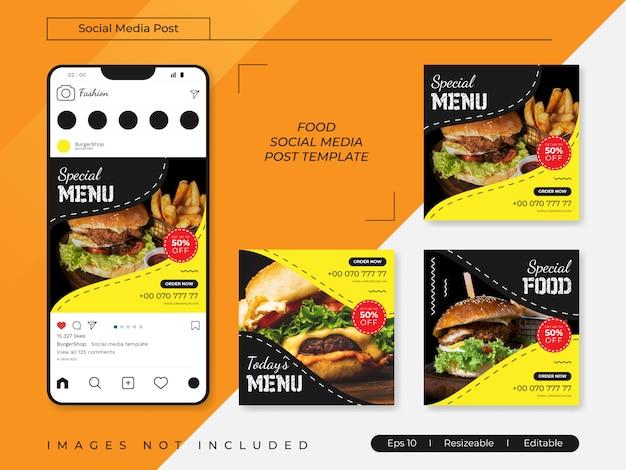 Banners de redes sociales de alimentos publican plantillas