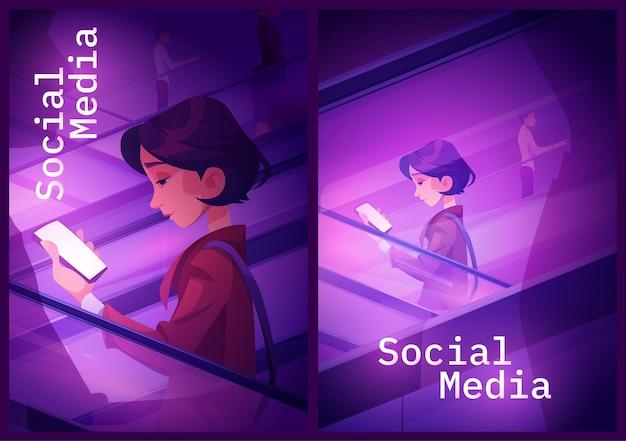 Banners de redes sociales con chica usando teléfono móvil en escalera mecánica. carteles vectoriales de comunicación en línea y contenido de internet con ilustración de dibujos animados de mujer con teléfono inteligente