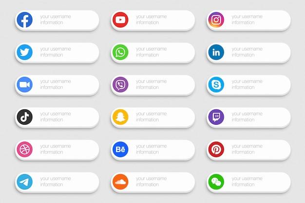 Banners de redes sociales conjunto de iconos de tercio inferior