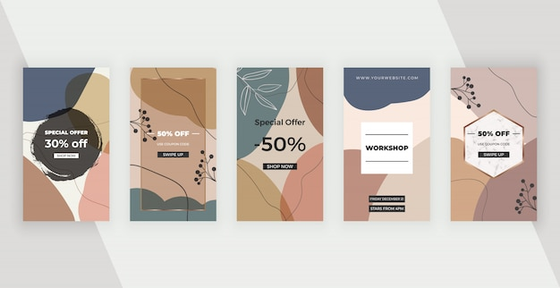 Banners de redes sociales con diseño geométrico abstracto con formas pintadas a mano de colores rosa, marrón y azul, hojas y líneas.