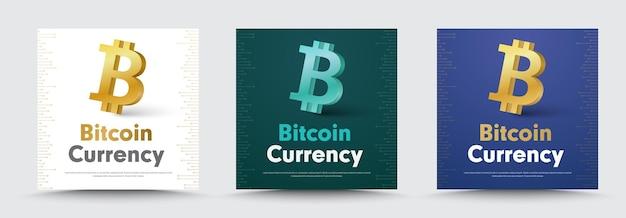 Banners de redes sociales con un icono de bitcoin de moneda criptográfica 3d.