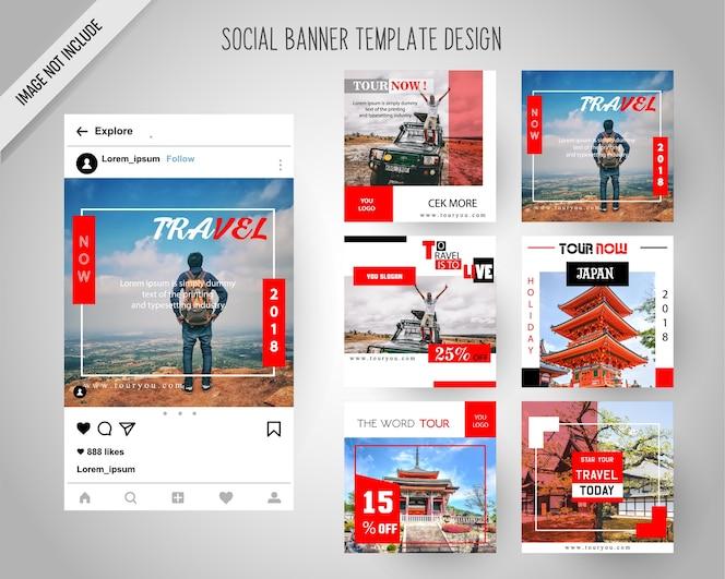 Banners de redes sociales itinerantes para marketing digital