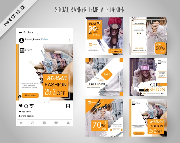 Banners de redes sociales de moda para marketing digital