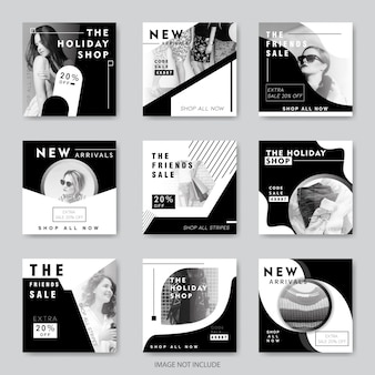Banners de redes sociales de moda para marketing digital