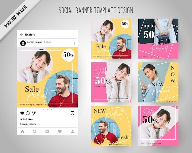 Banners de redes sociales de moda mínima para marketing digital
