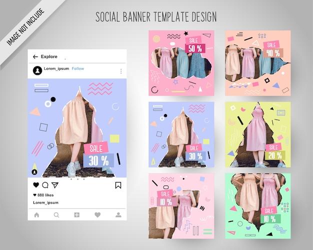Banners de redes sociales de moda minimal para marketing digital