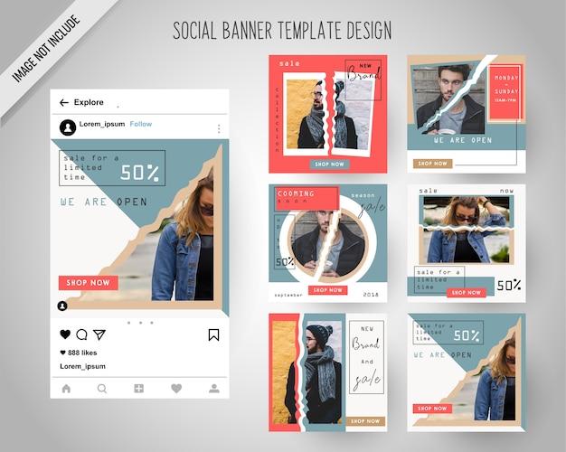 Banners de redes sociales de moda vintage para marketing digital