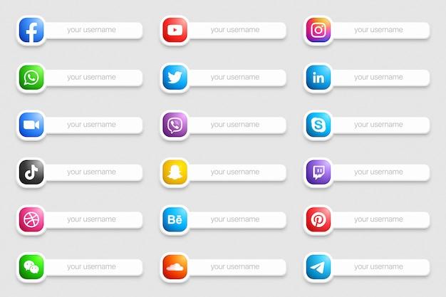Banners redes sociales populares iconos del tercio inferior