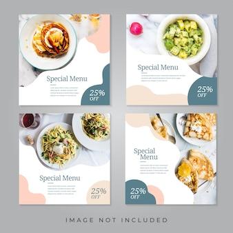 Banners de redes sociales de restaurantes de comida.