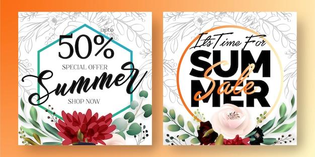 Banners de redes sociales de venta de verano
