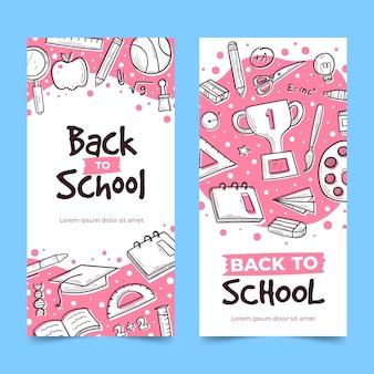 Banners de regreso a la escuela dibujados a mano