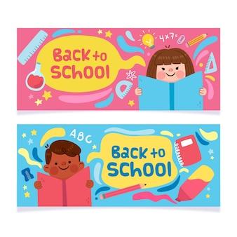 Banners de regreso a la escuela en diseño plano