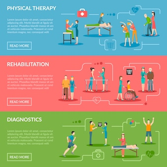 Banners de rehabilitación de fisioterapia