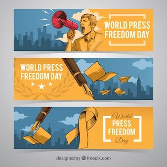 Banners reivindicativos del día de la libertad de prensa