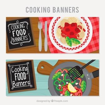 Banners de restaurante con deliciosos platos