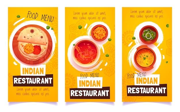 Banners de restaurante indio de dibujos animados
