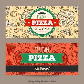Banners de restaurante italiano con bocetos de pizzas