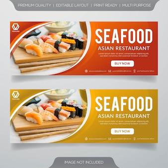 Banners de restaurante de mariscos