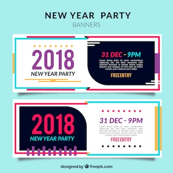 Banners retro de fiesta de año nuevo 2018