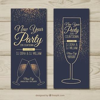 Banners retro dorados de fiesta de año nuevo
