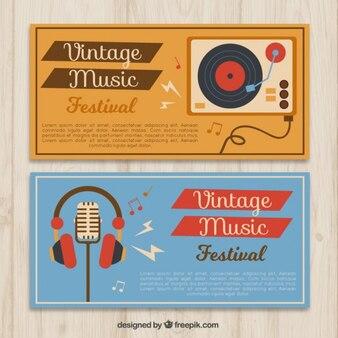 Banners retro de festival de música