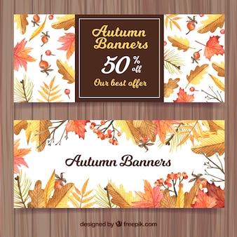 Banners retro de hojas de otoño de acuarela