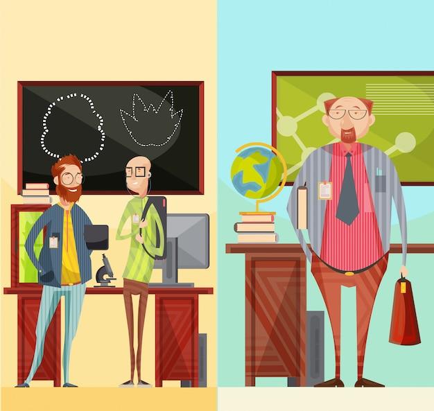 Banners retro verticales con profesores parlantes cerca de la mesa, especialista en educación con maletín y libro aislado ilustración vectorial