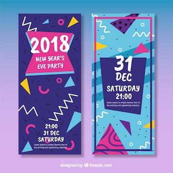 Banners retro y modernos de fiesta de año nuevo 2018