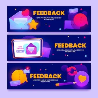 Banners de retroalimentación de diseño plano