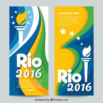 Banners de rio 2016 con una antorcha