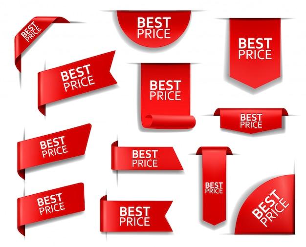 Banners rojos, etiquetas, etiquetas, esquinas al mejor precio