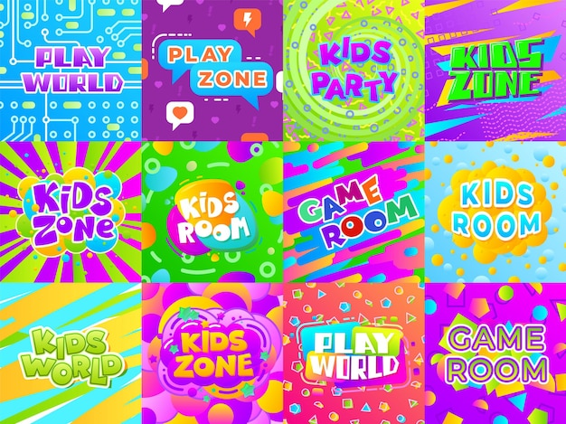 Banners de sala de juegos. señales divertidas para niños, pegatinas para áreas de juegos infantiles. etiquetas de entretenimiento de tipografía de color, carteles de vector de club infantil. zona para niños, juego de juegos, ilustración de banner de actividad