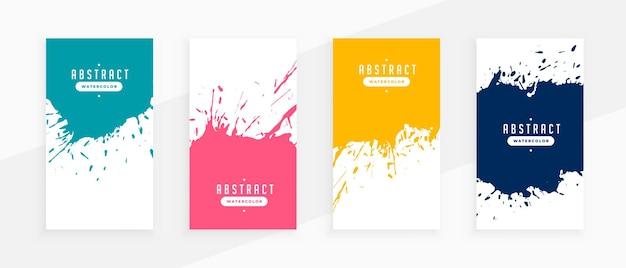 Banners de salpicaduras abstractas en cuatro colores