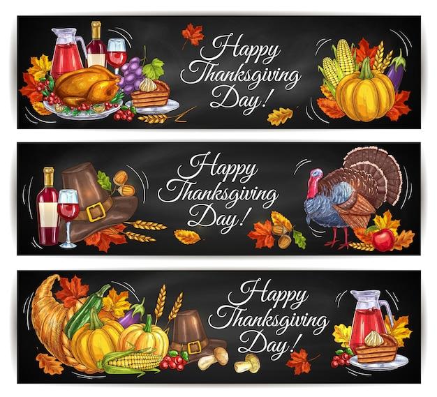 Banners de saludo de feliz día de acción de gracias