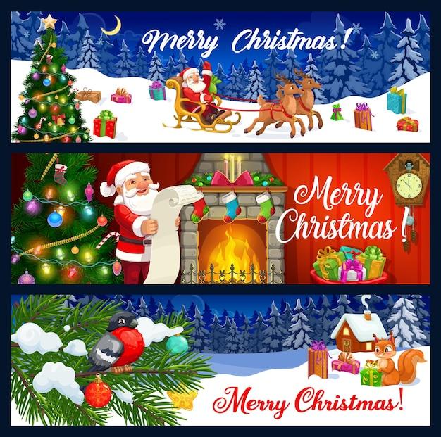Banners de saludo de feliz navidad.
