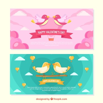 Banners de san valentín bonitos con pájaros enamorados
