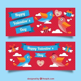 Banners de san valentín con cintas azules
