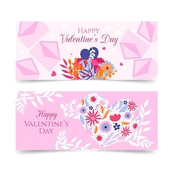 Banners de san valentín ilustraciones dibujadas a mano