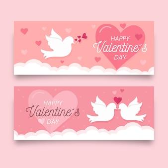 Banners de san valentín con pájaros