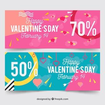 Banners de san valentin rosas y azules